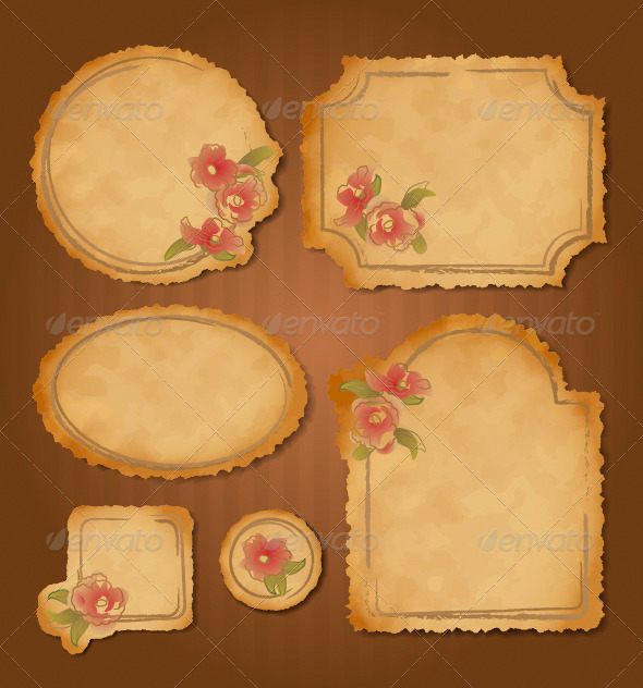 GraphicRiver Set of Retro Floral Vintage Frames and Labels 5004749