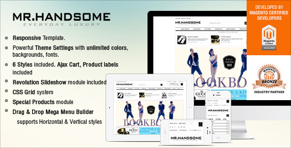 ThemeForest Responsive Magento Theme Gala Mr.Handsome 4958297