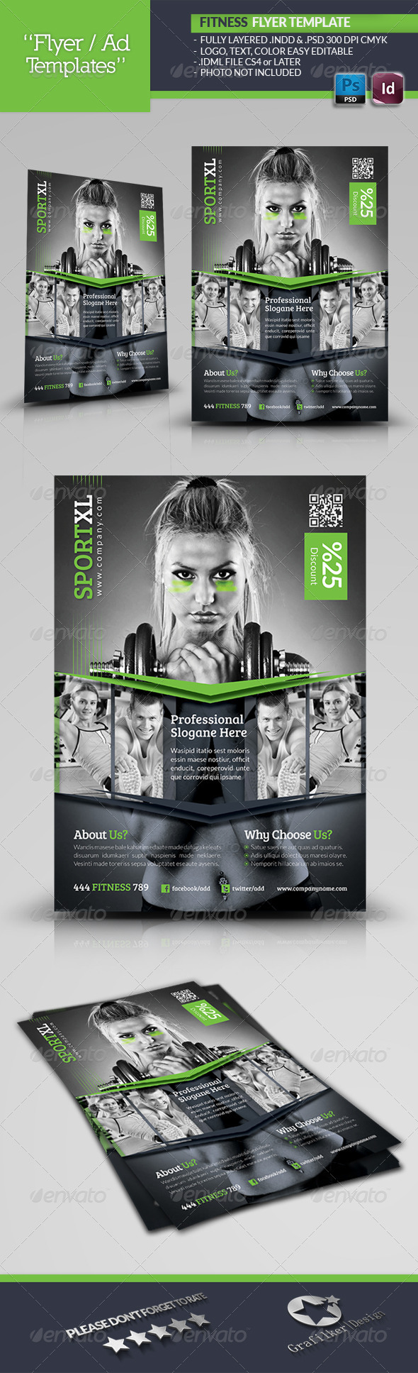 GraphicRiver Fitness Time Flyer Template 5005271