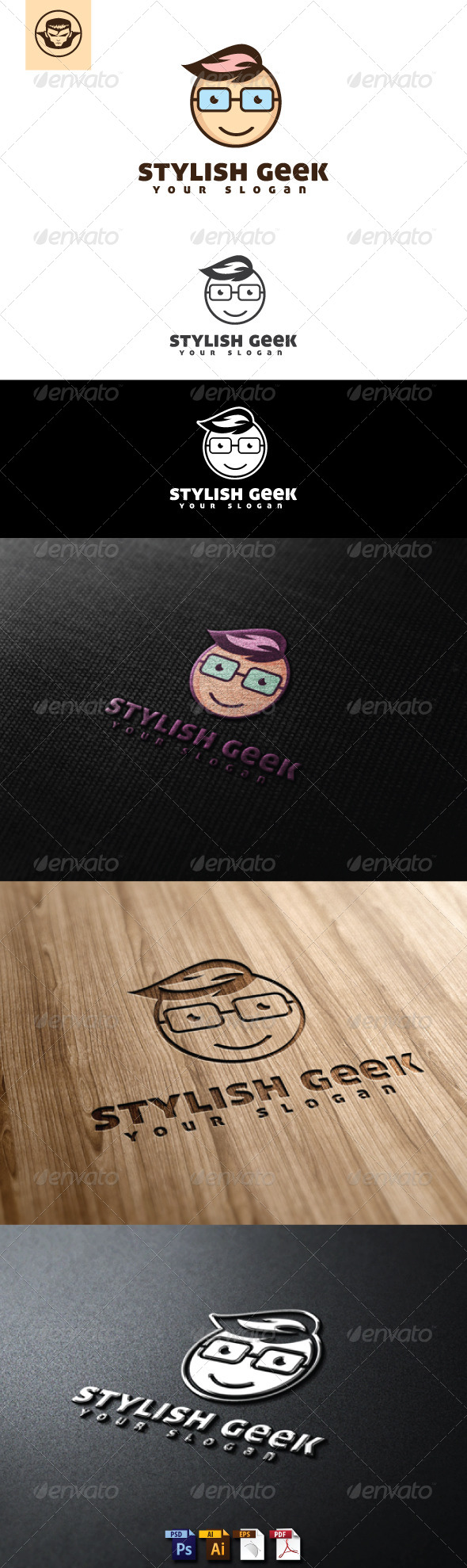 GraphicRiver Stylish Geek Logo Template 5005396