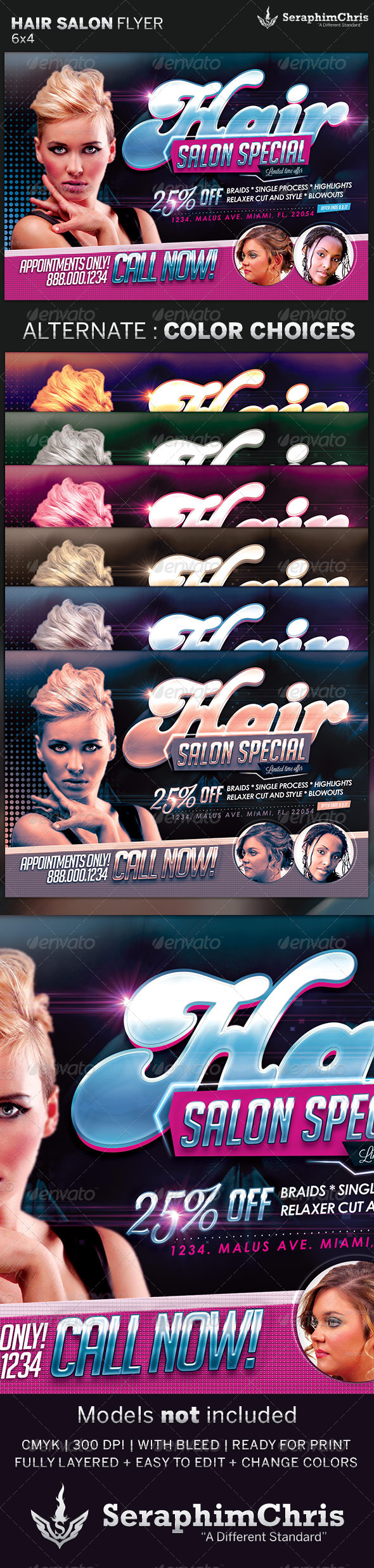 GraphicRiver Hair and Beauty Salon Flyer Template 5005556