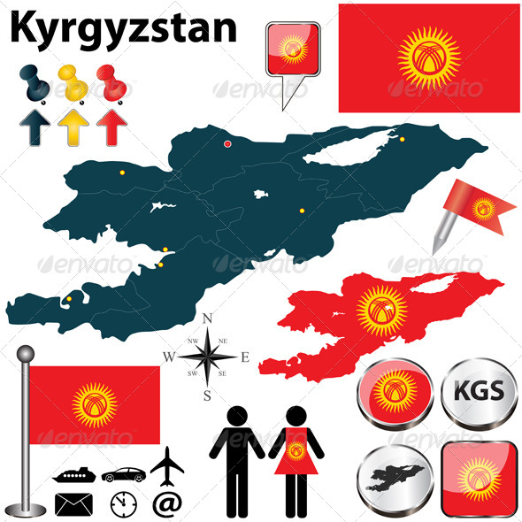 GraphicRiver Map of Kyrgyzstan 5005871