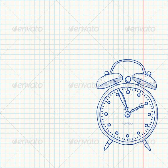 GraphicRiver Alarm Clock Doodle 5005898