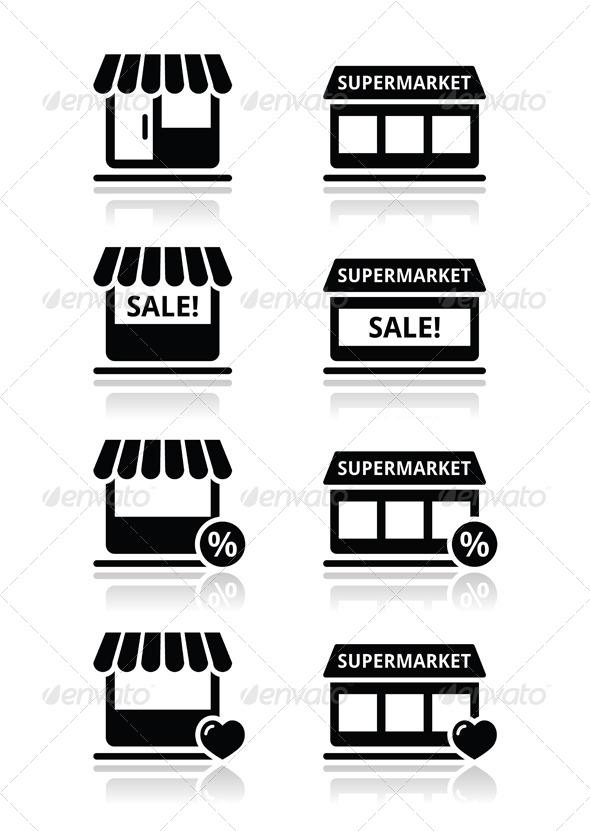GraphicRiver Single Shop Store Supermarket Vector Icons Set 5005932