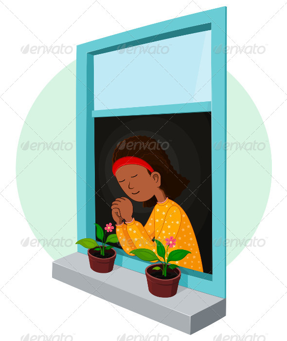 GraphicRiver African Girl Praying 5006025
