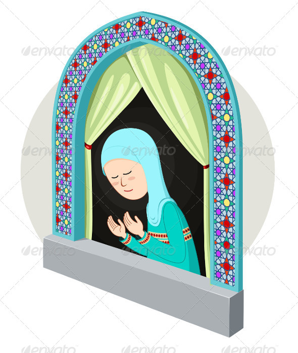 GraphicRiver Arabic Girl Praying in the Window 5006055