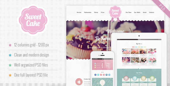 Sweet Cake - One Page PSD Theme