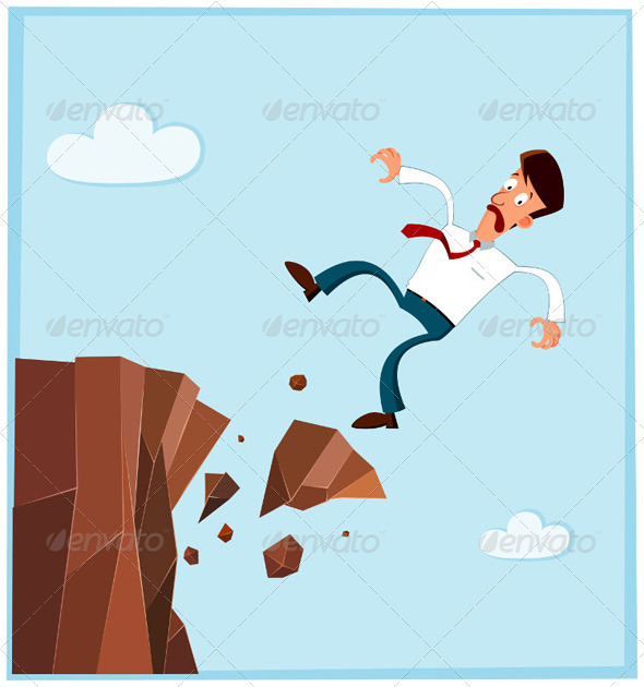 GraphicRiver Businessman Falling from the Side of Cliff 5006062