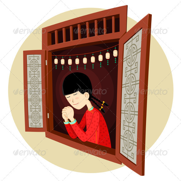 GraphicRiver Chinese Girl Praying in the Window 5006072