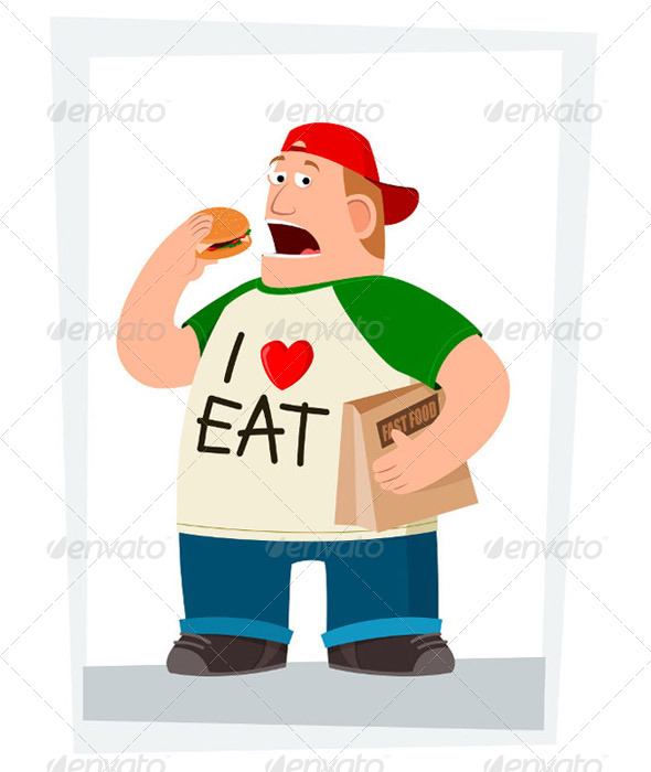 GraphicRiver Fatman Eating Hamburger 5006102