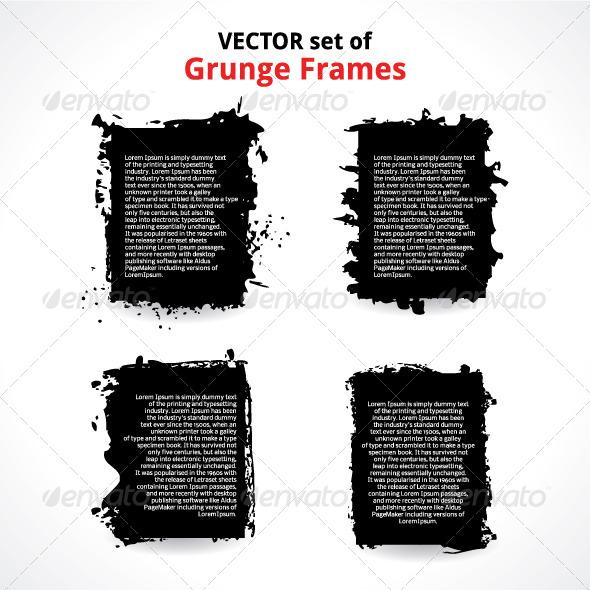 GraphicRiver Vector Set of Grunge Frames 5006126
