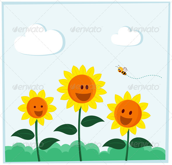 GraphicRiver Smiling Sunflower 5006424