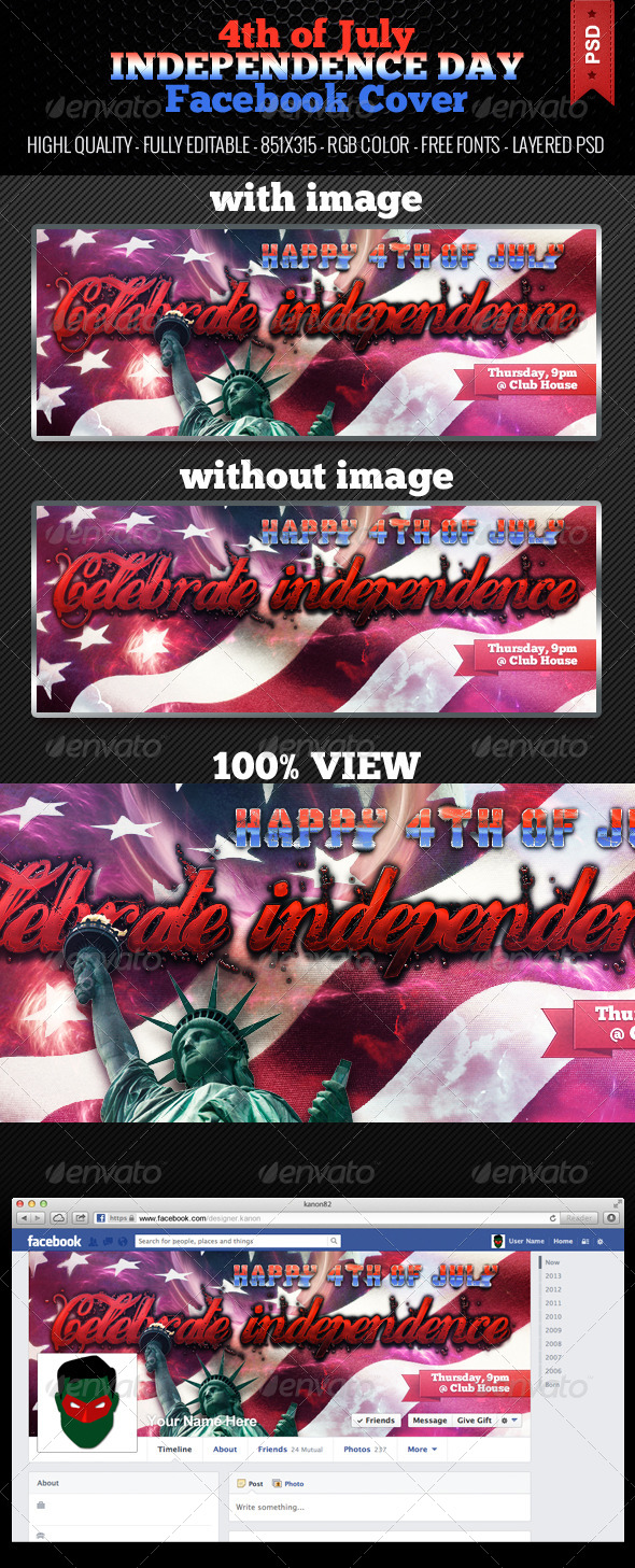 GraphicRiver 4th of July Independence Day Facebook Cover 4980227