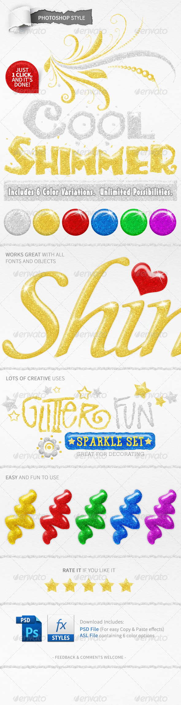 GraphicRiver 6 Glitter Text Styles 5006609