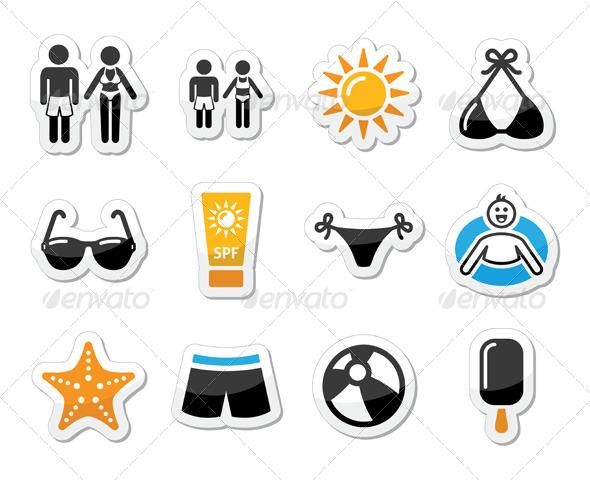 GraphicRiver Summer Beach Holidays Icons Set 5006699