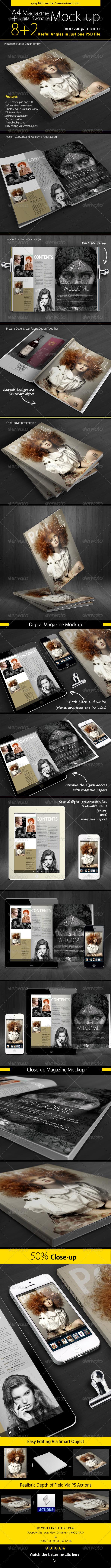 GraphicRiver A4 Magazine & Digital Magazine Mock-up 5007443