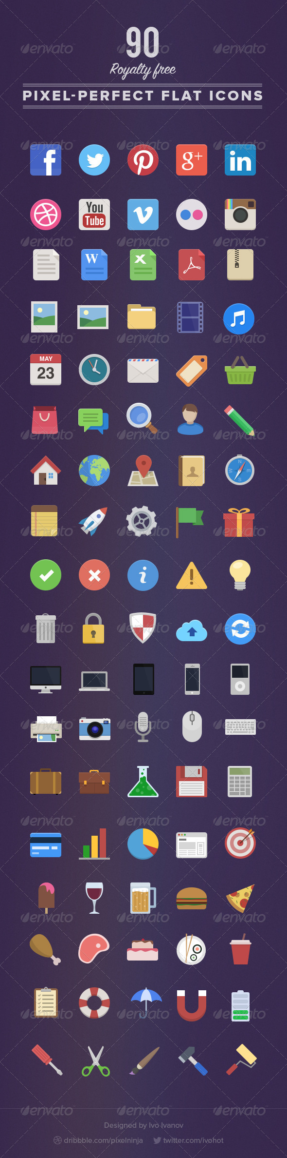 GraphicRiver 90 Royalty Free Flat Icons 5007901