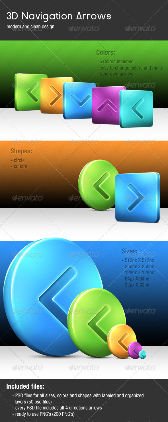 GraphicRiver 3D Navigation Arrows 517076