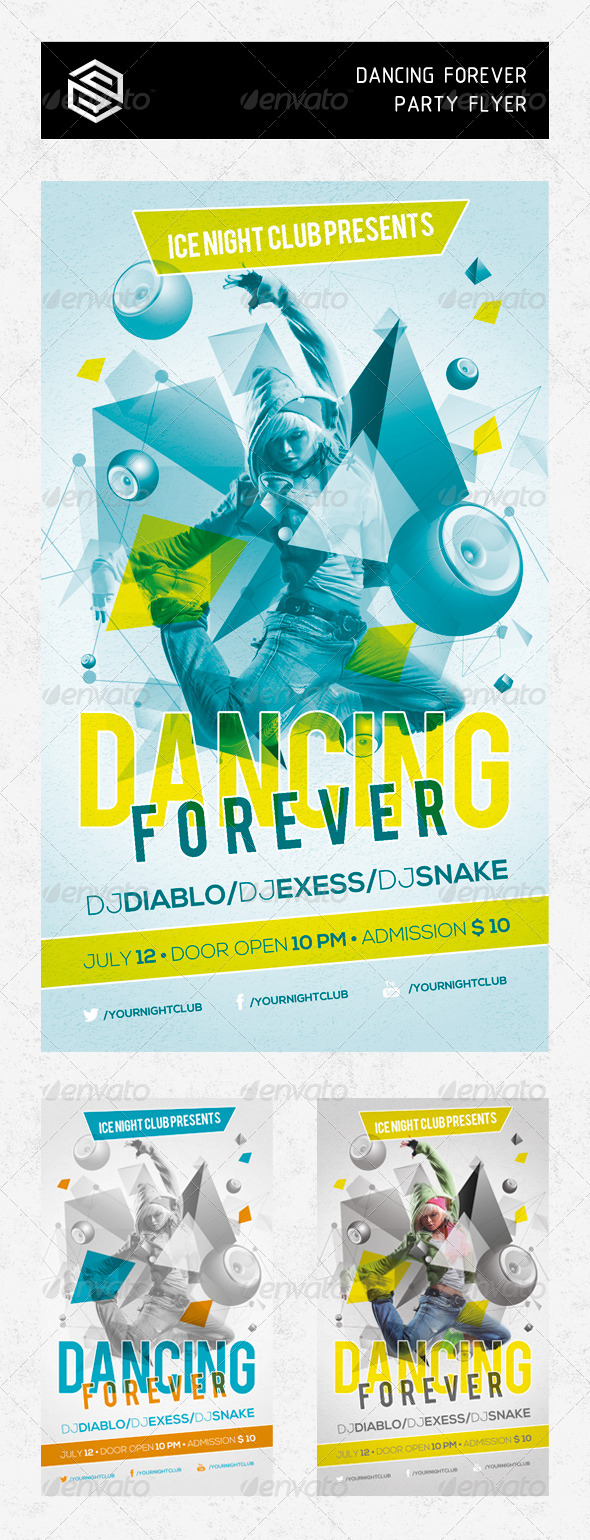 GraphicRiver Dancing Forever Party Flyer 5008394