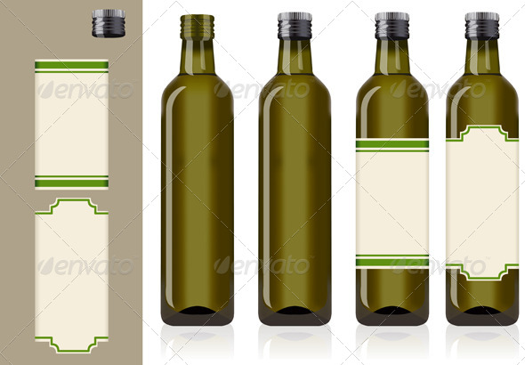 GraphicRiver Four Olive Oil Bottles with Labels 5008625