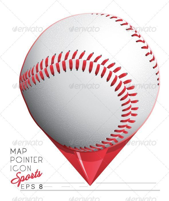 GraphicRiver Colorful Baseball Sports Map Pointer Icon 5009622