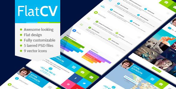 ThemeForest FlatCV vCard Resume PSD Template 5009834
