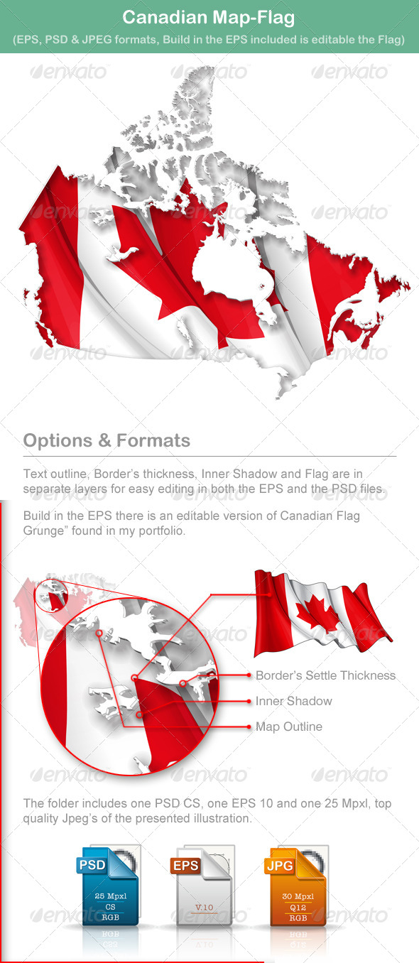 GraphicRiver Canadian Map Flag 5009901