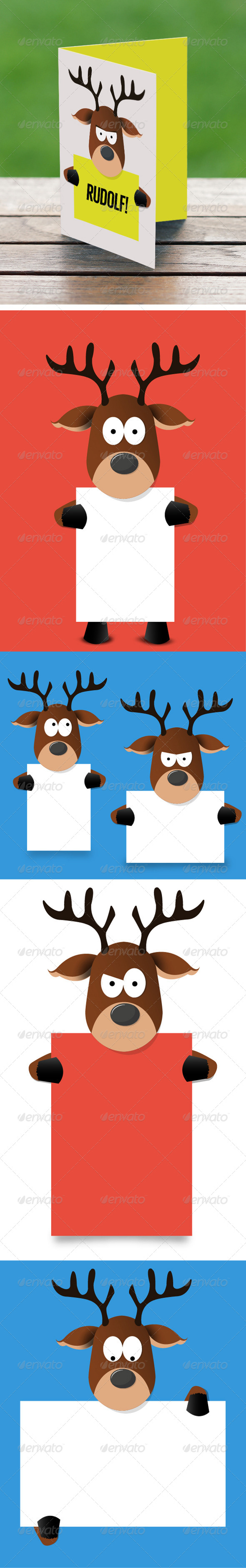 GraphicRiver Cartoon Reindeer Holding Paper 5009902