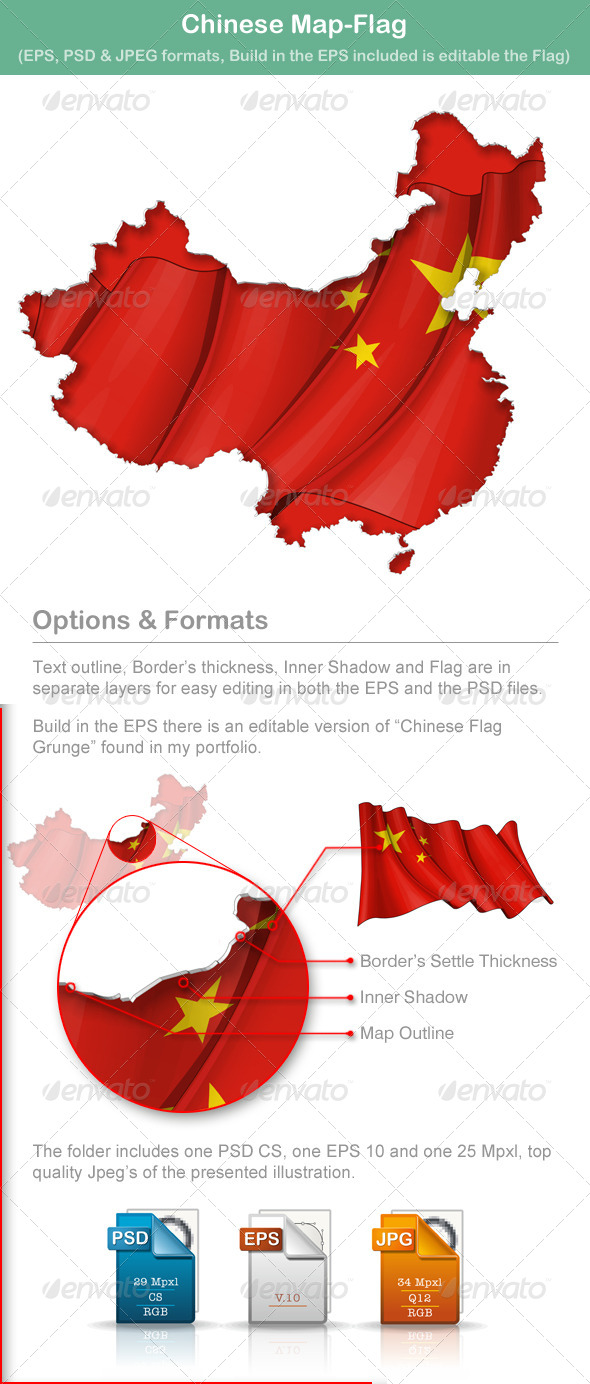 GraphicRiver Chinese Map-Flag 5009906