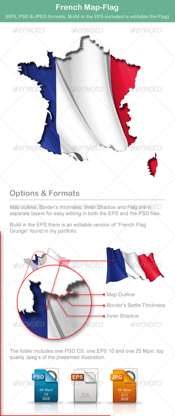 GraphicRiver French Map-Flag 5009931
