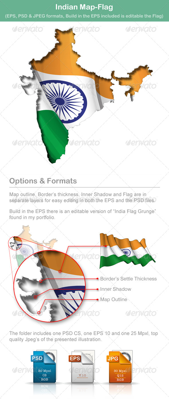 GraphicRiver Indian Map-Flag 5009950