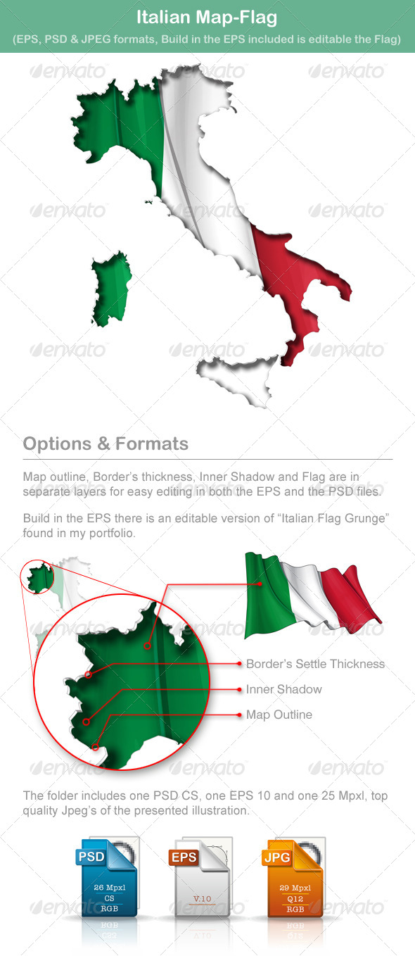 GraphicRiver Italian Map Flag 5009957