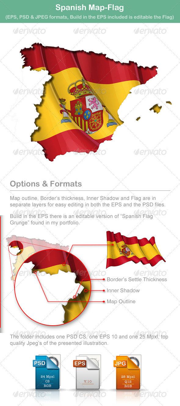 GraphicRiver Spanish Map Flag 5010129