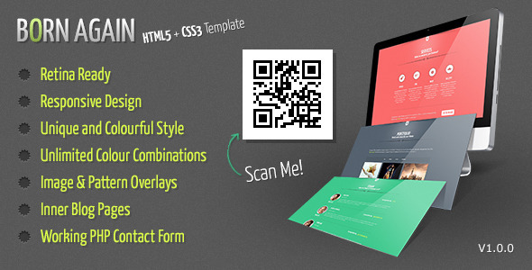 ThemeForest Born Again A Responsive One Page Portfolio 5010320