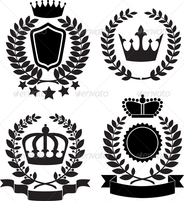GraphicRiver Black Silhouettes of Award Label with Crown 5010659