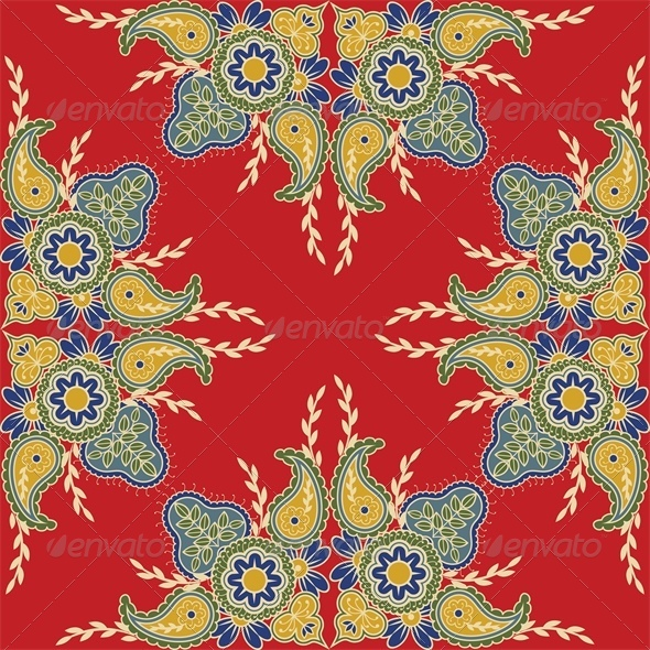 GraphicRiver Seamless Red Background with Indian Floral Pattern 5010718