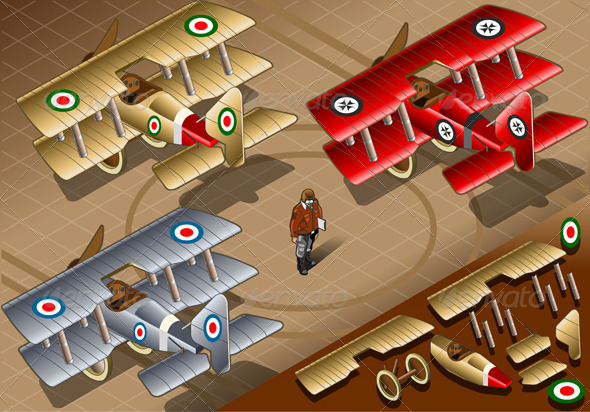 GraphicRiver Isometric Old Vintage Biplanes in Rear View 5010882
