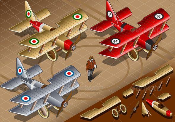 GraphicRiver Isometric Old Vintage Biplanes in Front View 5010896