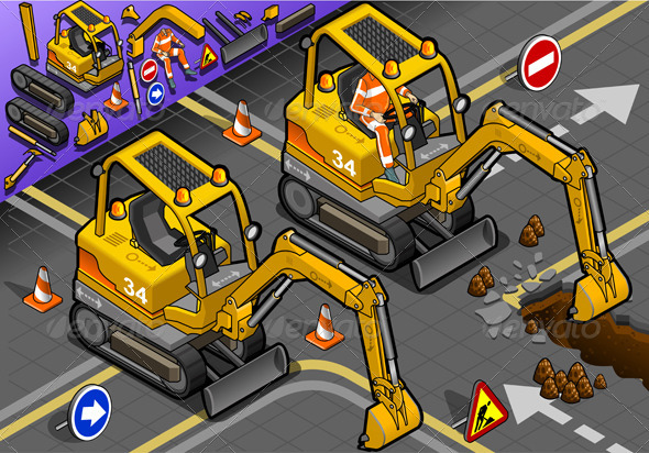 GraphicRiver Isometric Mini Excavator with Man at Work 5010964