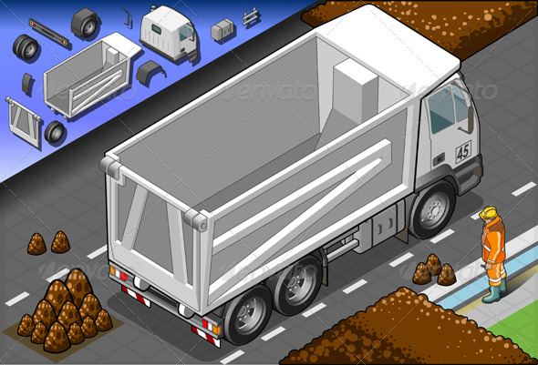 Isometric Empty Container Truck in Rear View