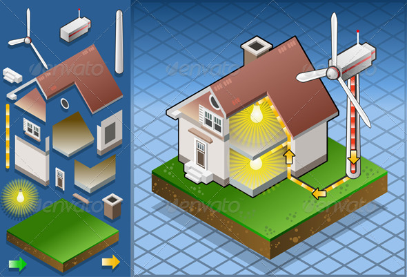 Isometric House with Aeolic Turbine