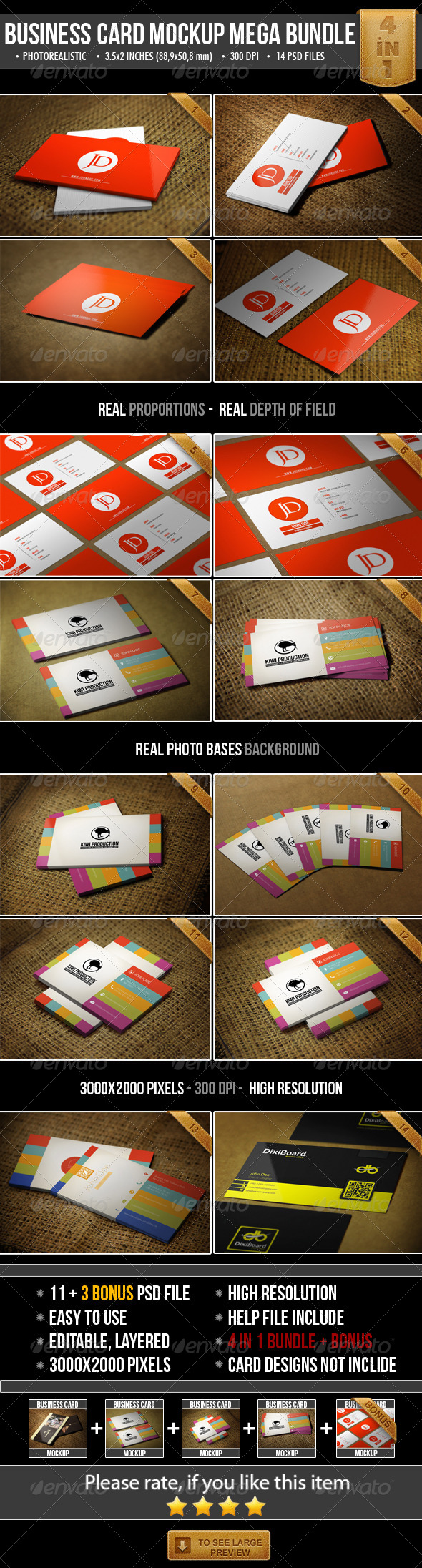 GraphicRiver Realistic Business Card Mock-Up Bundle 4948801