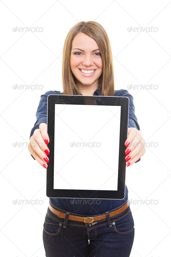 Attractive young woman showing blank tablet screen - Stock Photo - Images