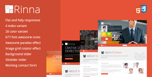 ThemeForest Rinna flat and responsive onepage template 5012435