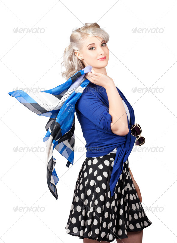 Isolated caucasian woman with pinup fashion style - Stock Photo - Images
