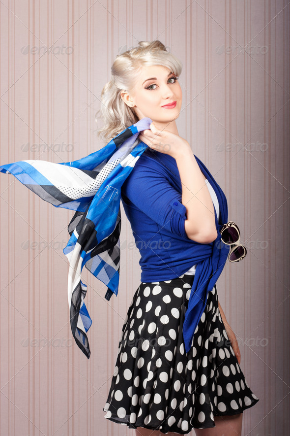 American style pin-up girl. Vintage background - Stock Photo - Images