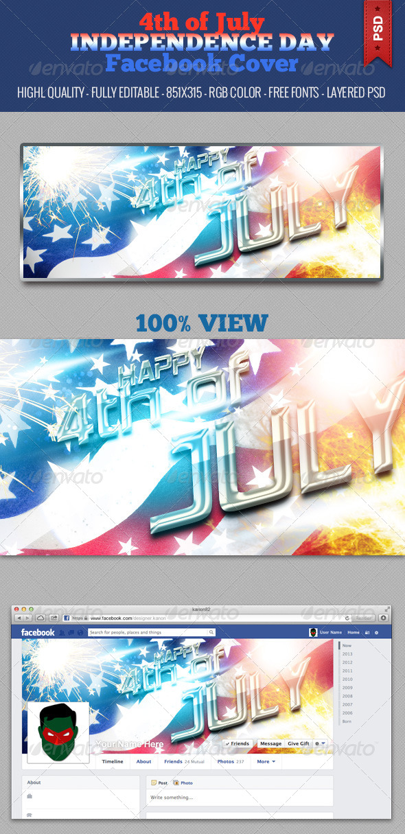 GraphicRiver 4th of July Independence Day Facebook Cover V2 5012818