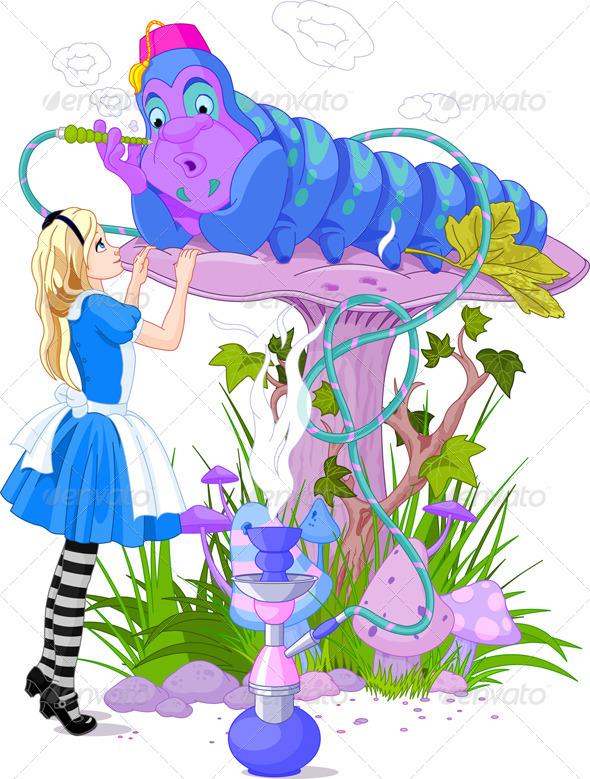 GraphicRiver Alice and Blue Caterpillar 5013135