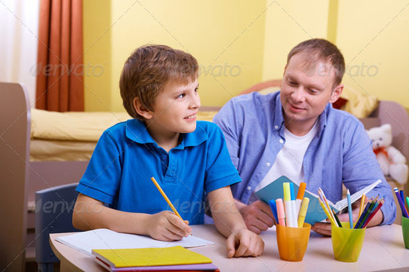 Doing schoolwork - Stock Photo - Images