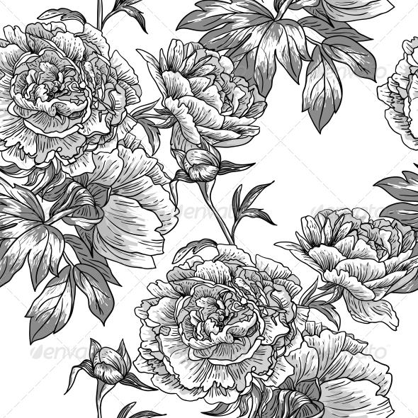 GraphicRiver Monochrome Floral Pattern 5013849